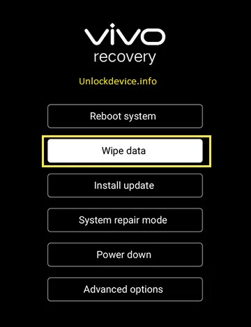 Vivo Hard Reset wipe data option